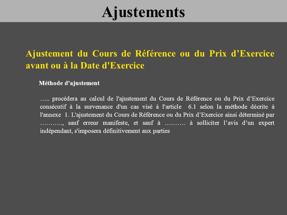 Ajustements Ajustement du Cours de Référence ou du Prix d'Exercice avant ou à la Date d Exercice.