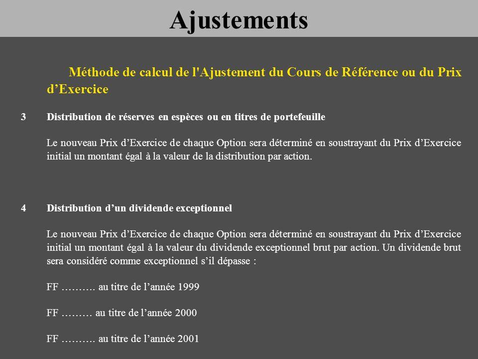 Ajustements Méthode de calcul de l Ajustement du Cours de Référence ou du Prix d'Exercice.