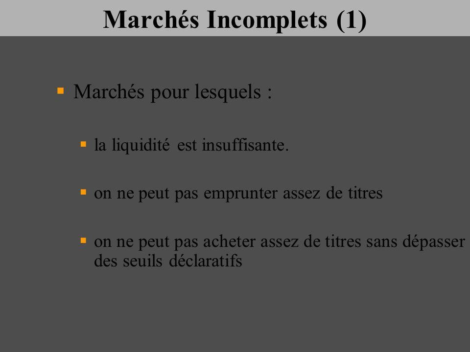 Marchés Incomplets (1) Marchés pour lesquels :