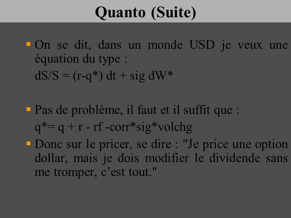 Quanto (Suite) On se dit, dans un monde USD je veux une équation du type : dS/S = (r-q*) dt + sig dW*