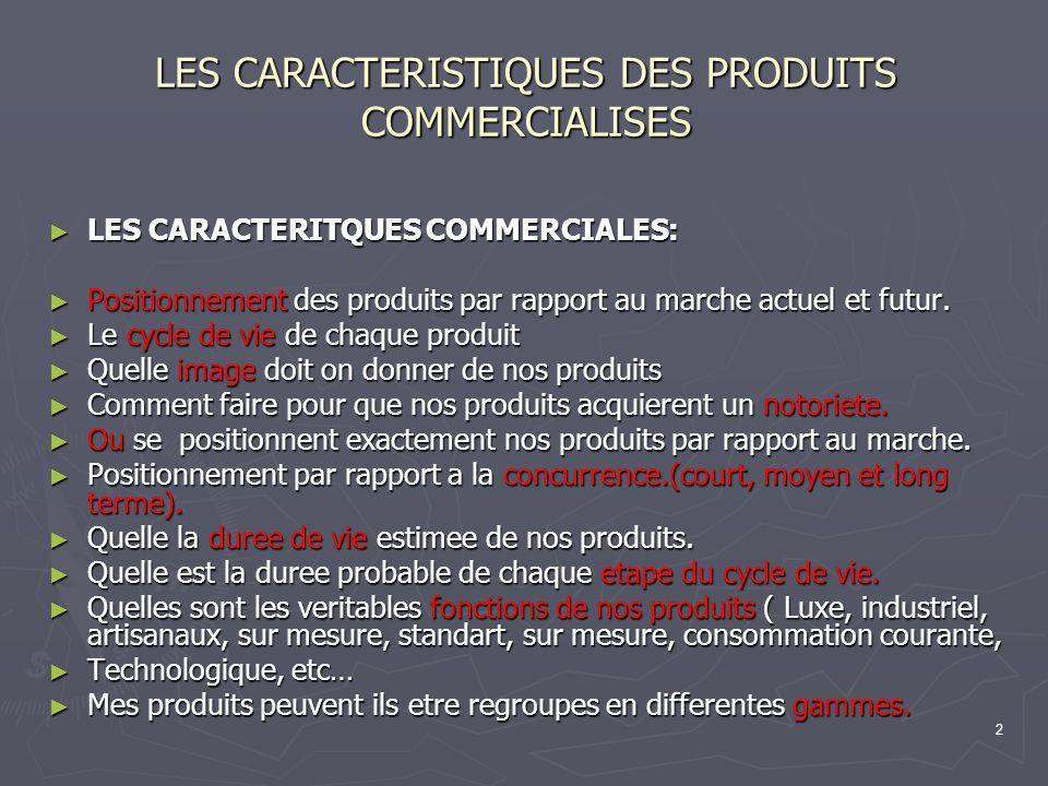 LES CARACTERISTIQUES DES PRODUITS COMMERCIALISES