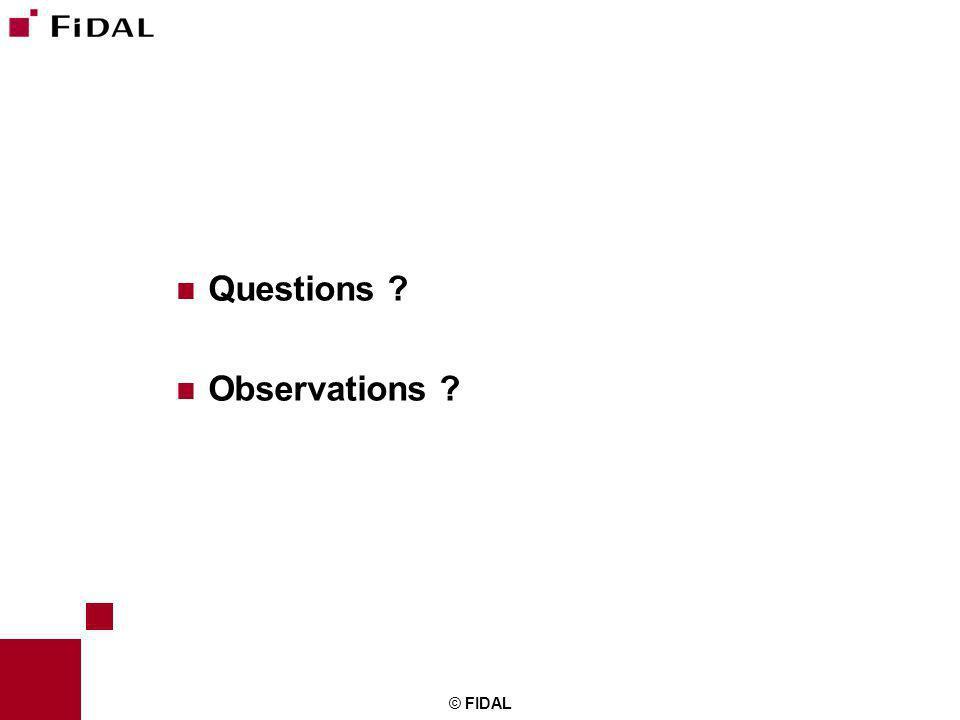 Questions Observations © FIDAL