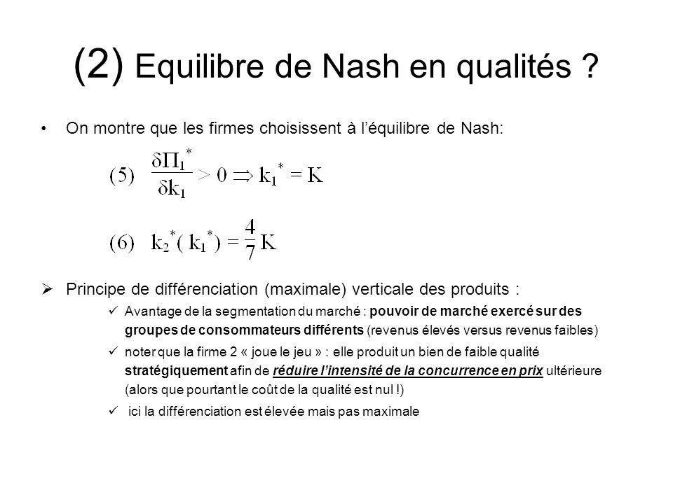 (2) Equilibre de Nash en qualités