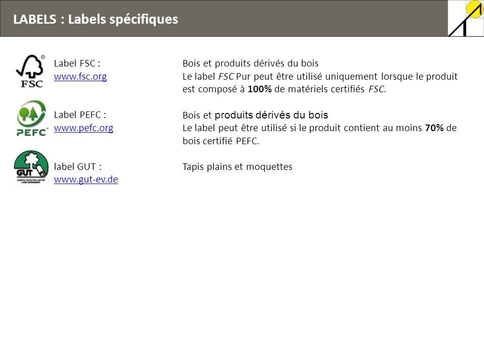 LABELS : Labels spécifiques