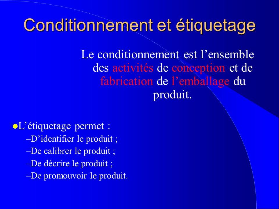 Conditionnement et étiquetage