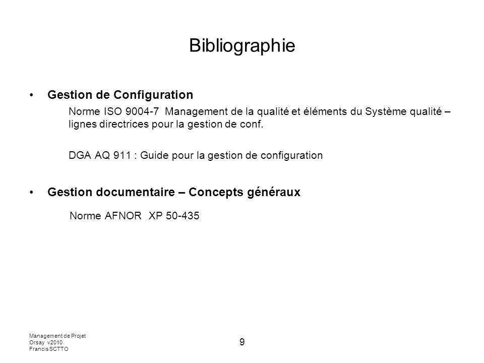 Bibliographie Norme AFNOR XP 50-435 Gestion de Configuration