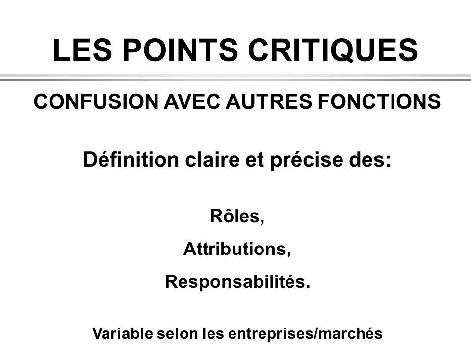 LES POINTS CRITIQUES CONFUSION AVEC AUTRES FONCTIONS