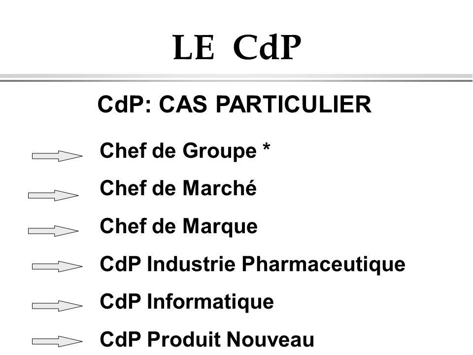 LE CdP CdP: CAS PARTICULIER Chef de Groupe * Chef de Marché