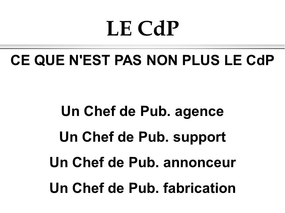 LE CdP CE QUE N EST PAS NON PLUS LE CdP Un Chef de Pub. agence