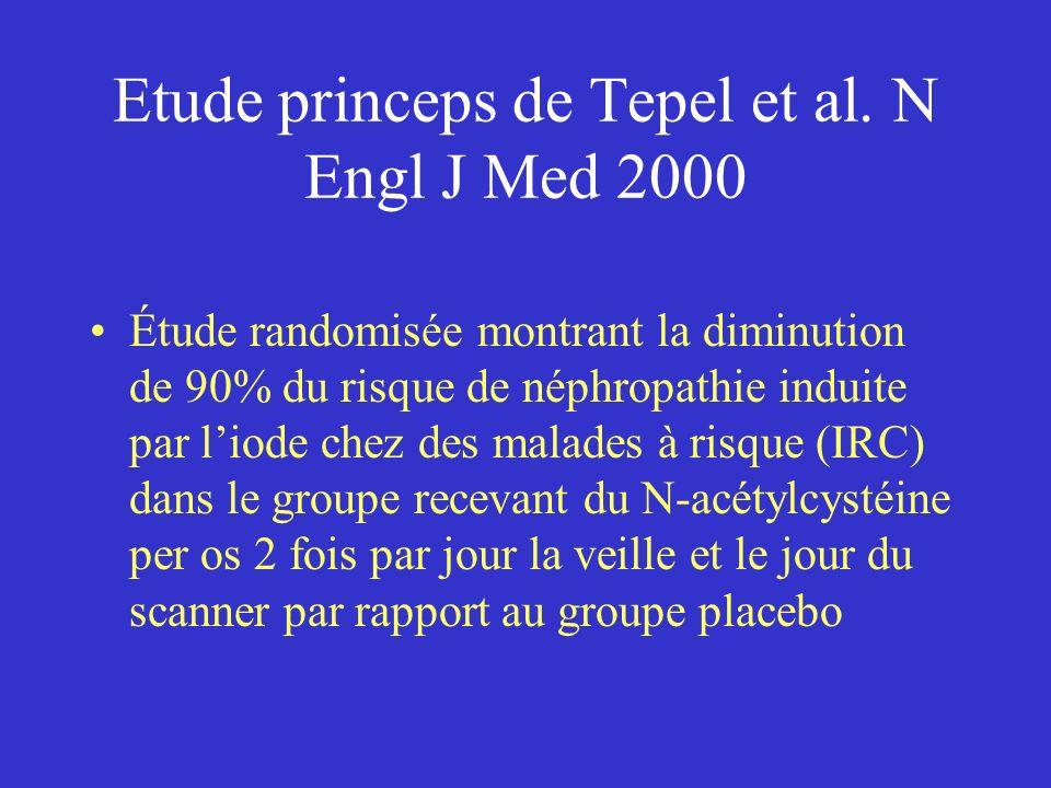 Etude princeps de Tepel et al. N Engl J Med 2000