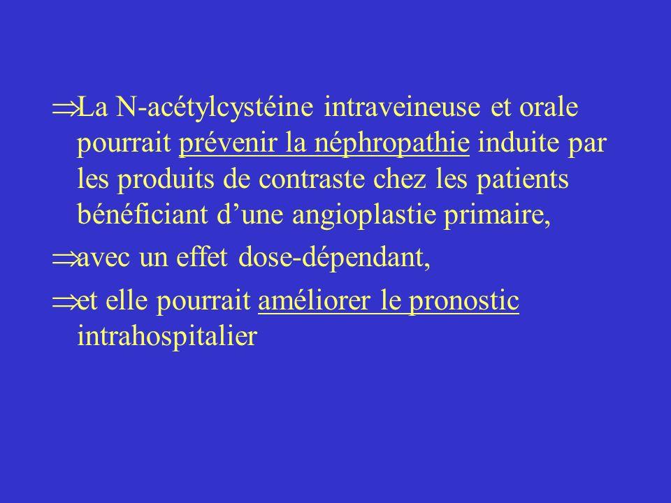 La N-acétylcystéine intraveineuse et orale pourrait prévenir la néphropathie induite par les produits de contraste chez les patients bénéficiant d'une angioplastie primaire,