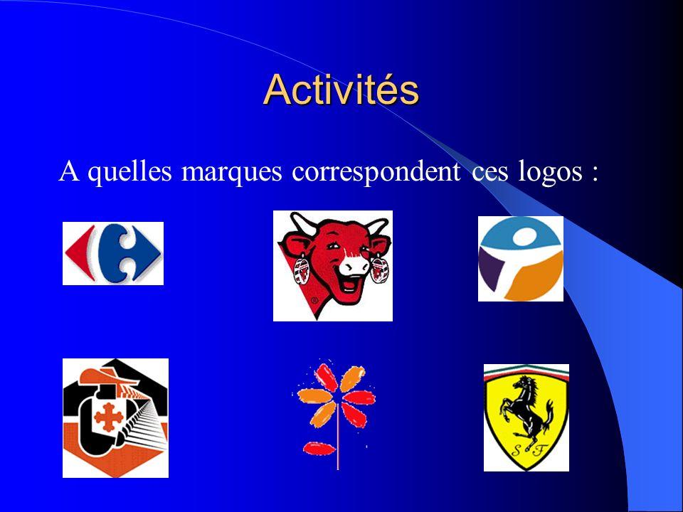 Activités A quelles marques correspondent ces logos :