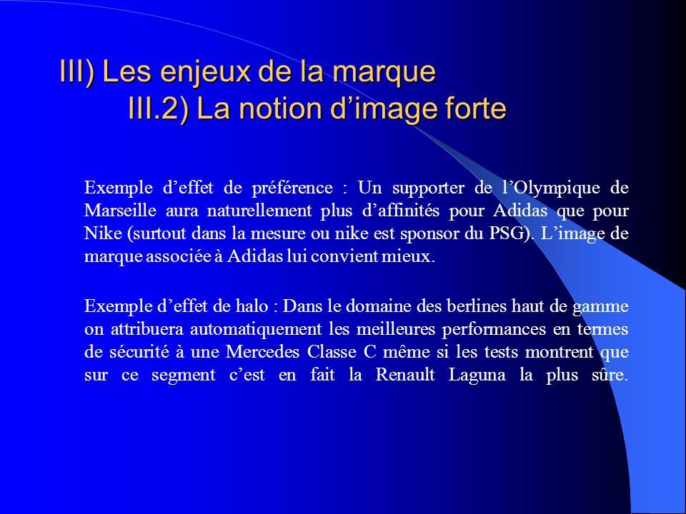 III) Les enjeux de la marque III.2) La notion d'image forte