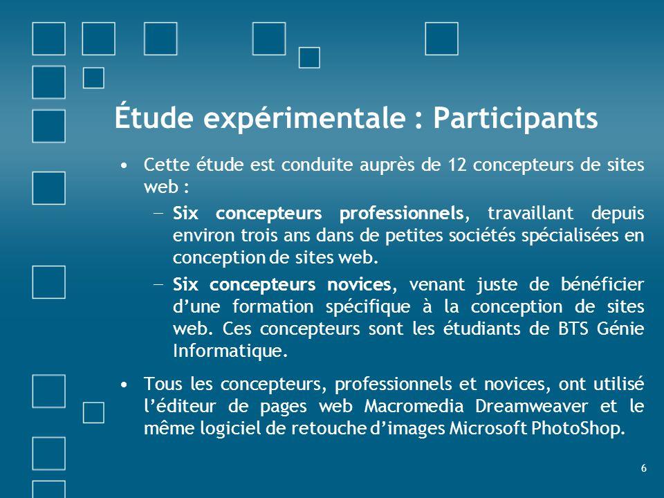 Étude expérimentale : Participants