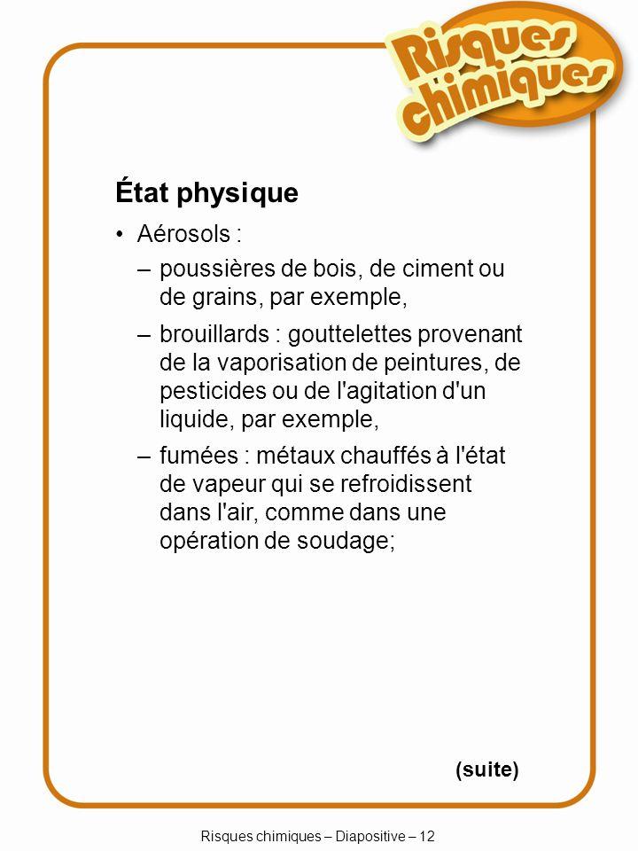 Risques chimiques – Diapositive – 12