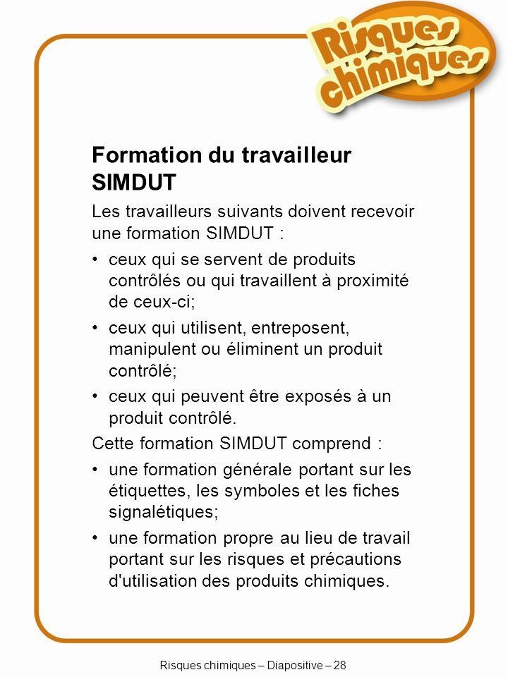 Risques chimiques – Diapositive – 28