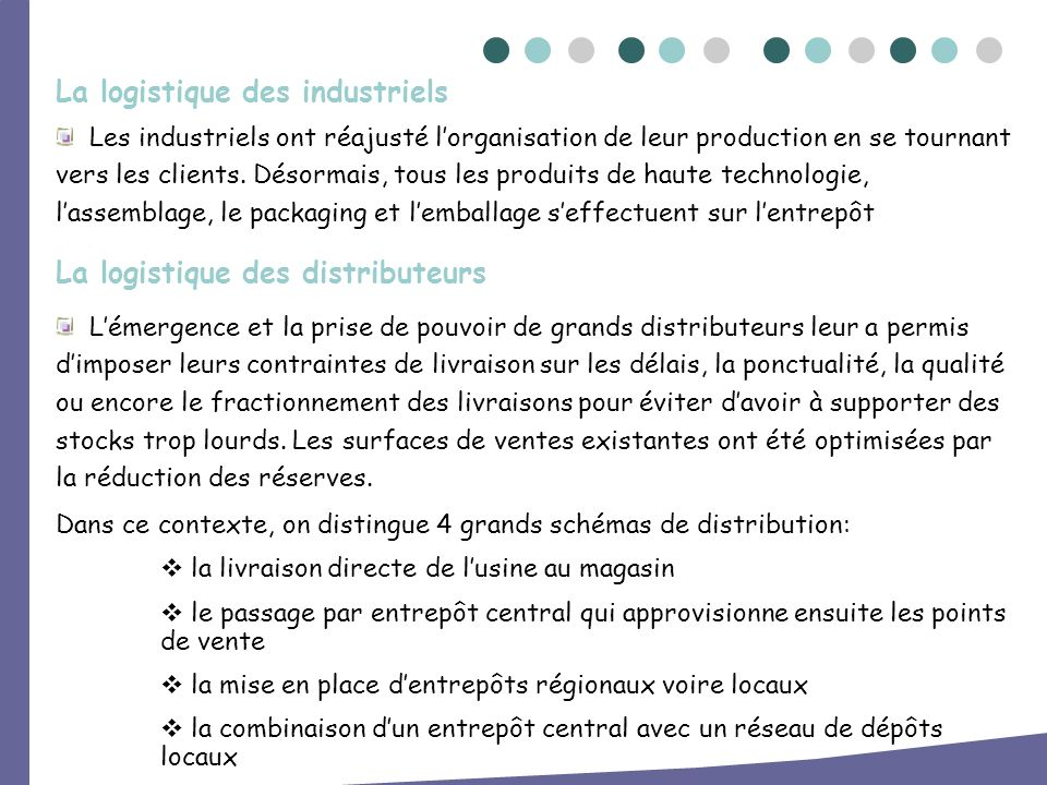La logistique des industriels