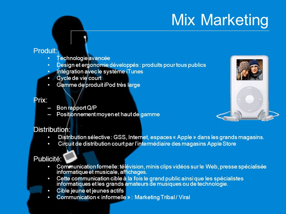 Mix Marketing Produit: Prix: Distribution: Publicité: