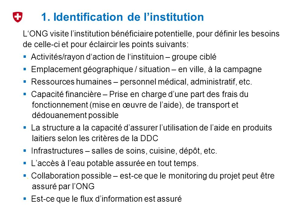 1. Identification de l'institution