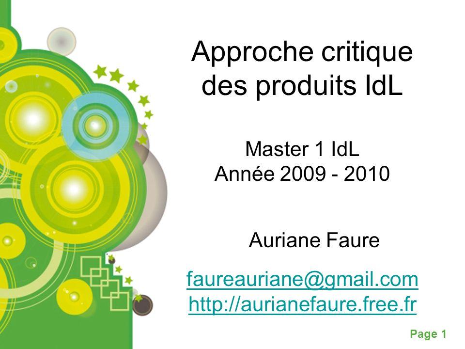 Approche critique des produits IdL Master 1 IdL Année 2009 - 2010