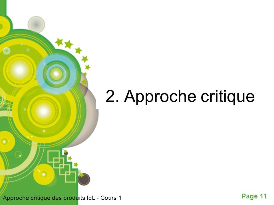 2. Approche critique Approche critique des produits IdL - Cours 1