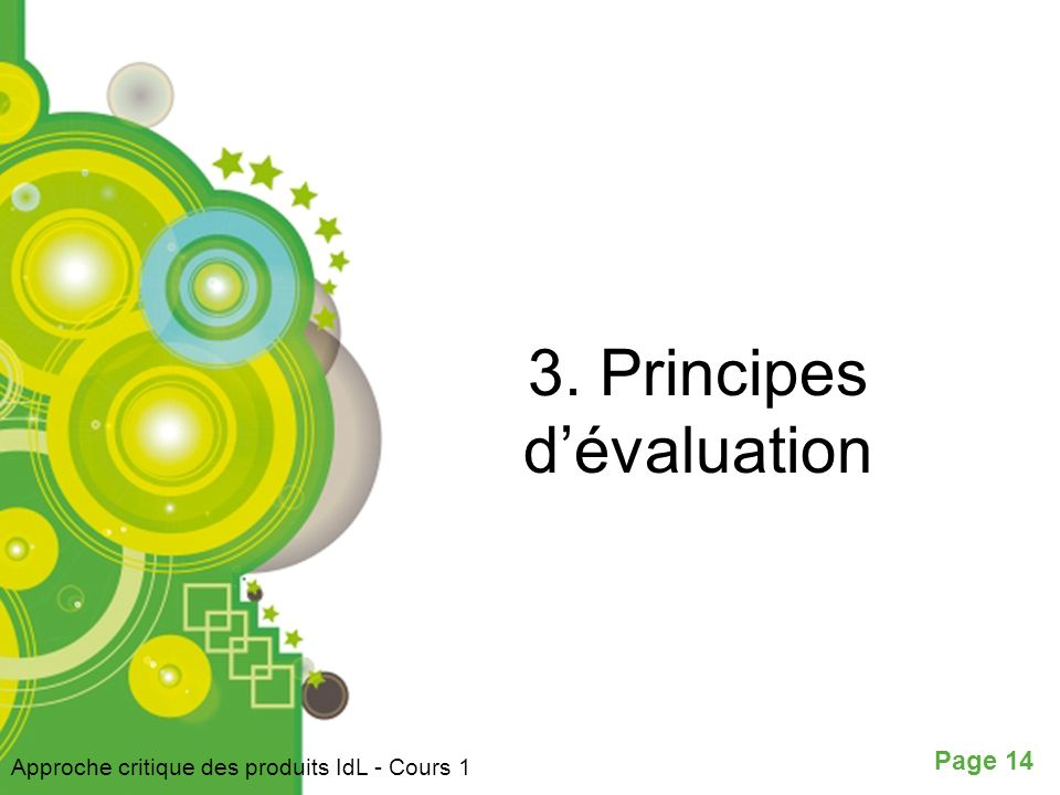 3. Principes d'évaluation