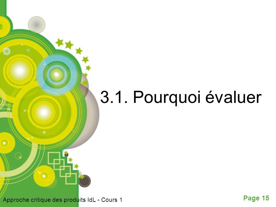 3.1. Pourquoi évaluer Approche critique des produits IdL - Cours 1