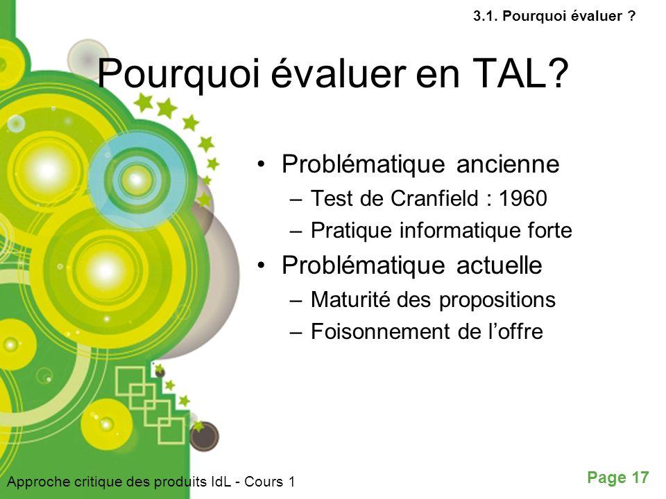 Pourquoi évaluer en TAL