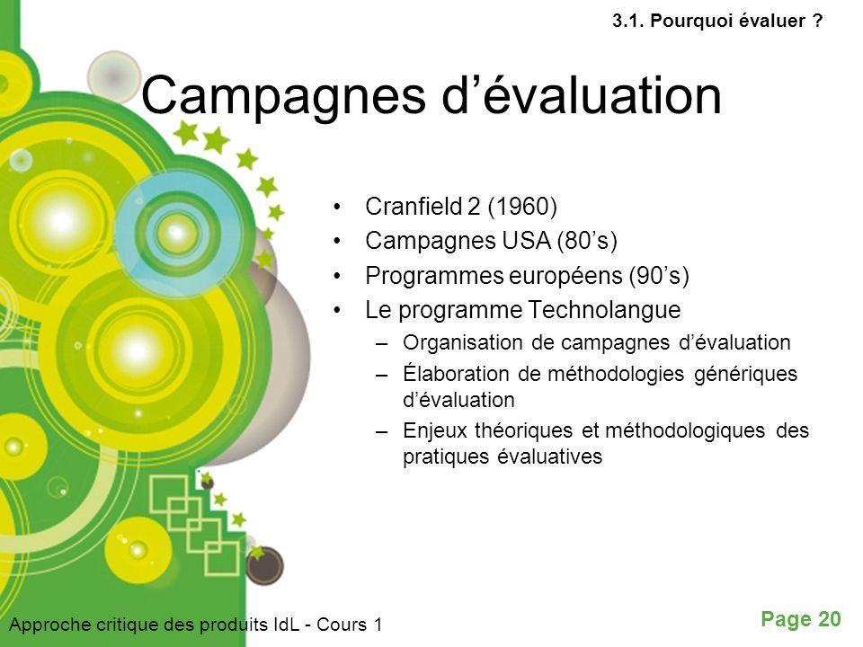 Campagnes d'évaluation