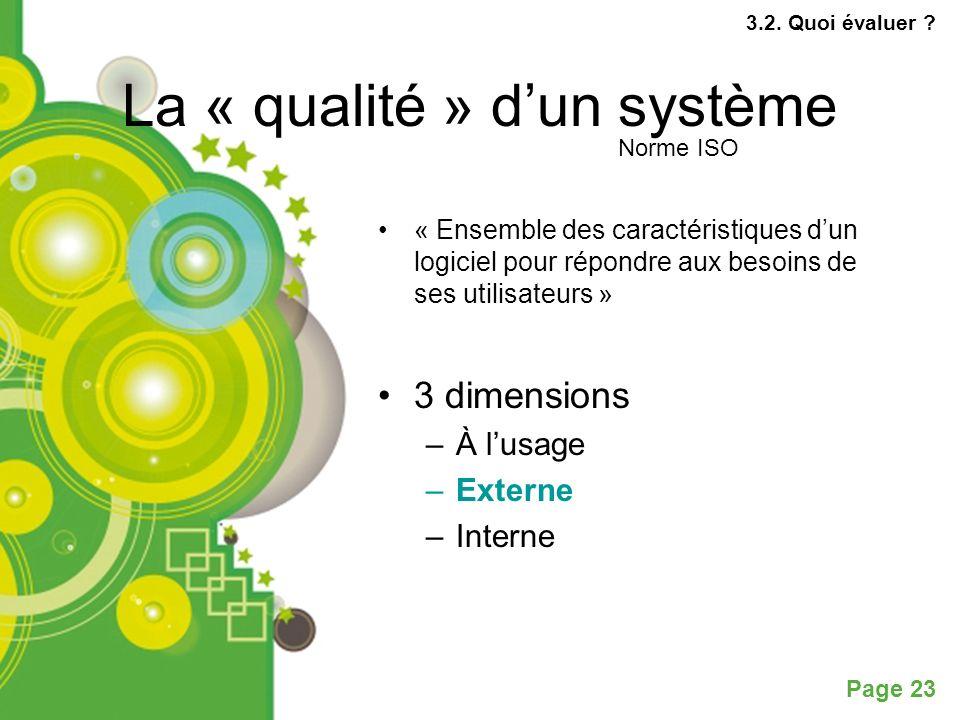 La « qualité » d'un système