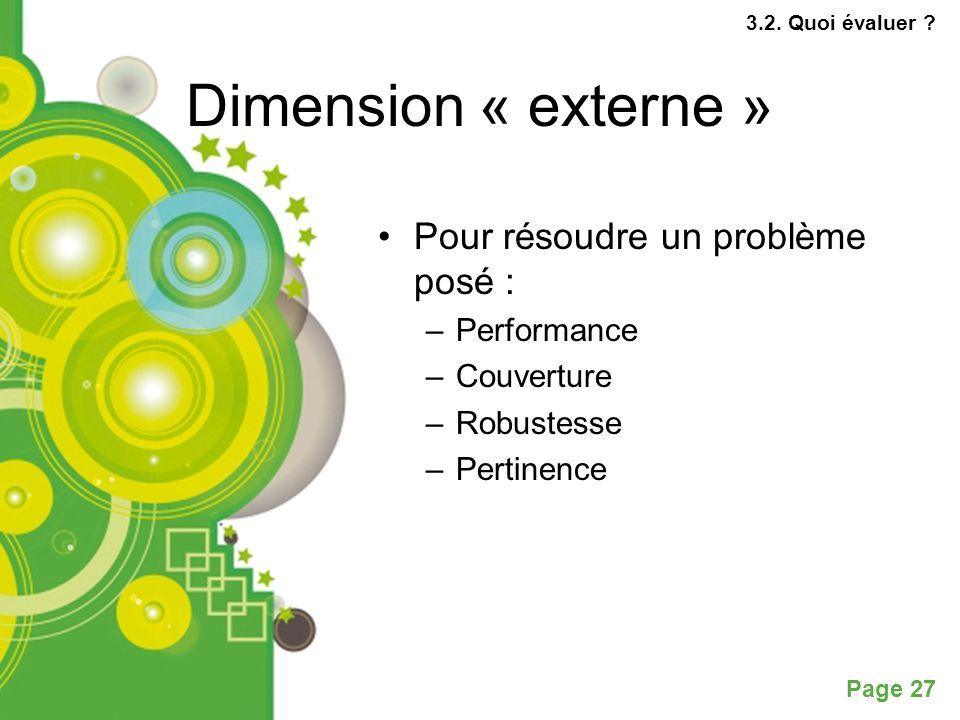 Dimension « externe » Pour résoudre un problème posé : Performance
