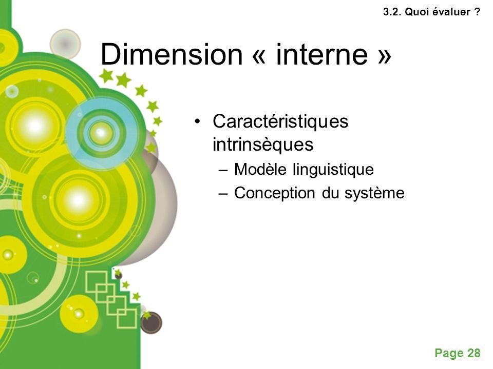 Dimension « interne » Caractéristiques intrinsèques