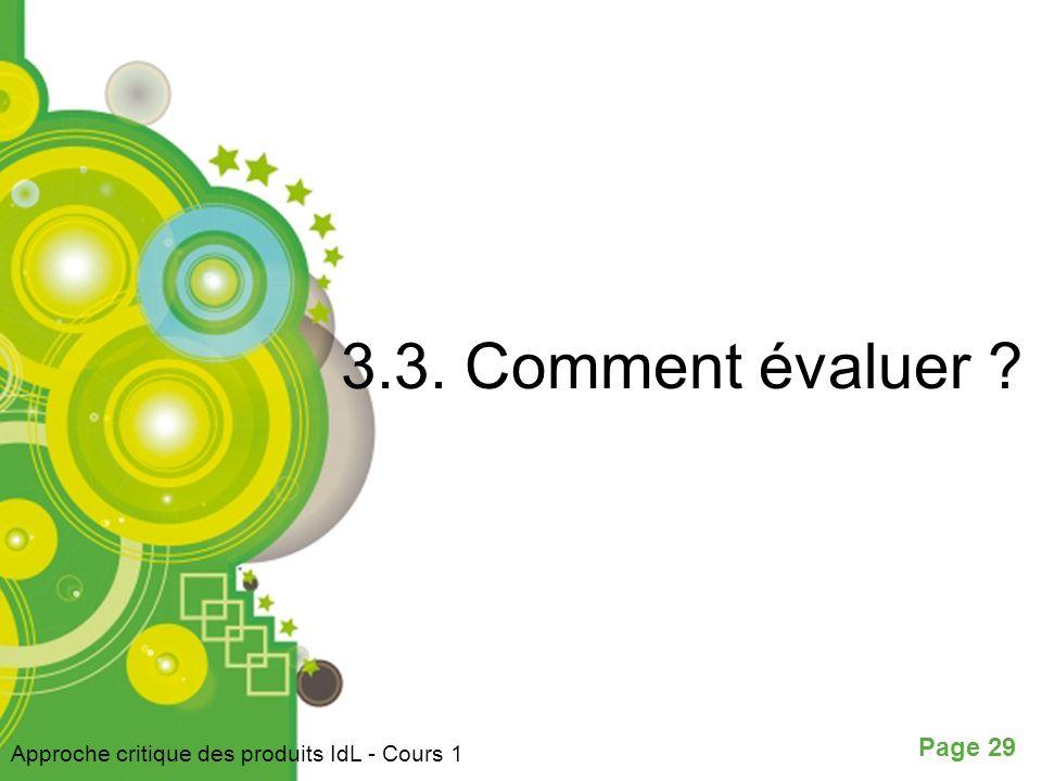 3.3. Comment évaluer Approche critique des produits IdL - Cours 1