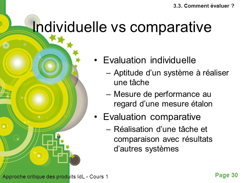 Individuelle vs comparative