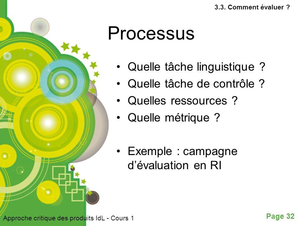 Processus Quelle tâche linguistique Quelle tâche de contrôle