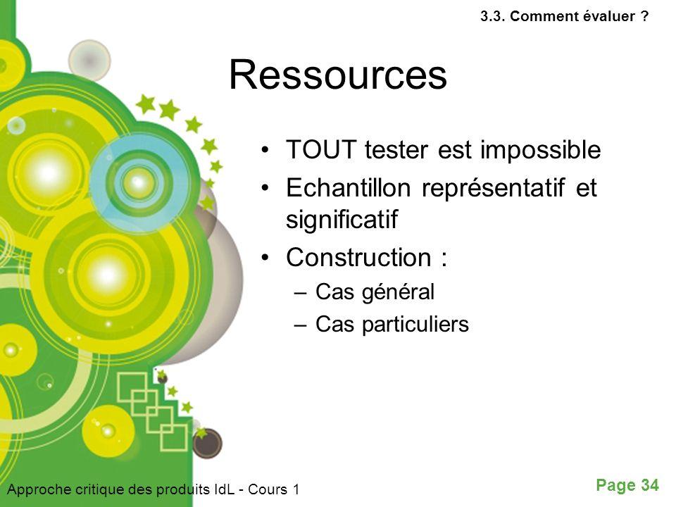 Ressources TOUT tester est impossible