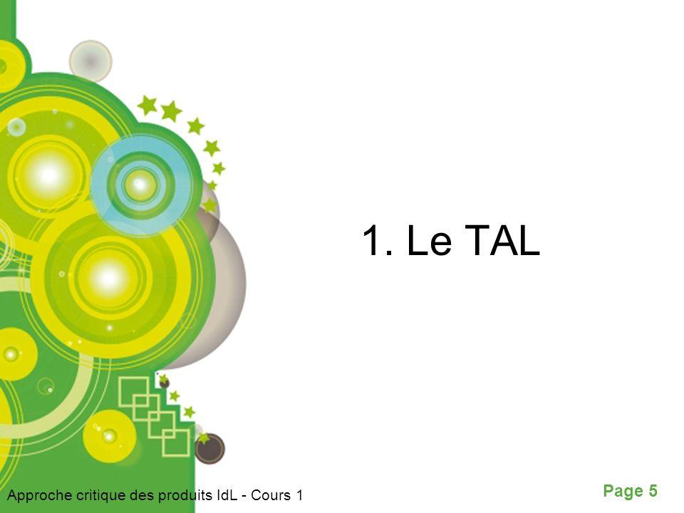 1. Le TAL Approche critique des produits IdL - Cours 1