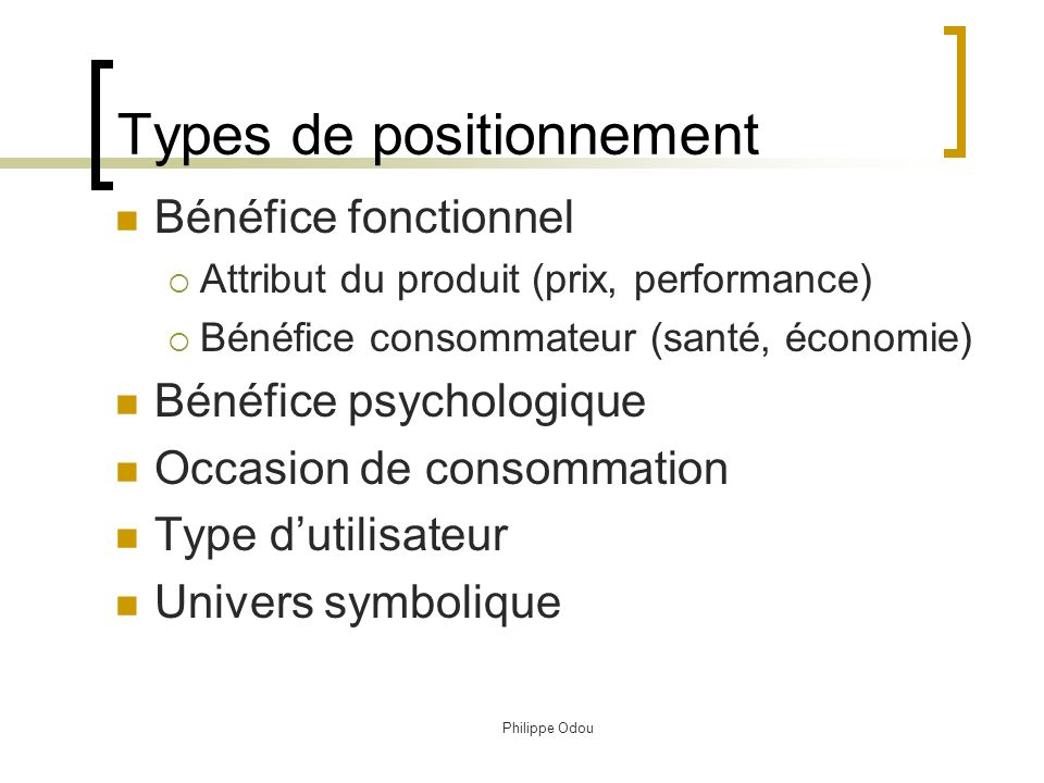 Types de positionnement