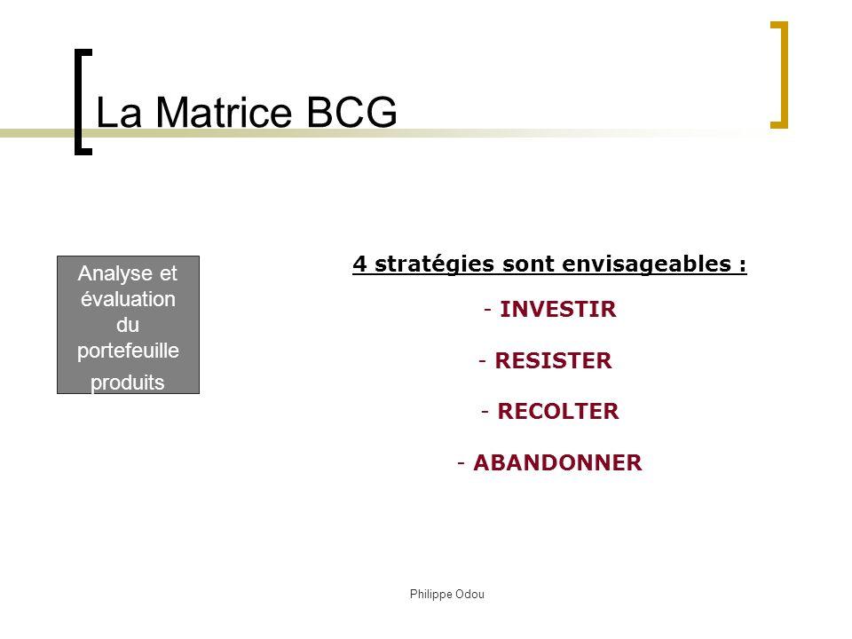 La Matrice BCG 4 stratégies sont envisageables :