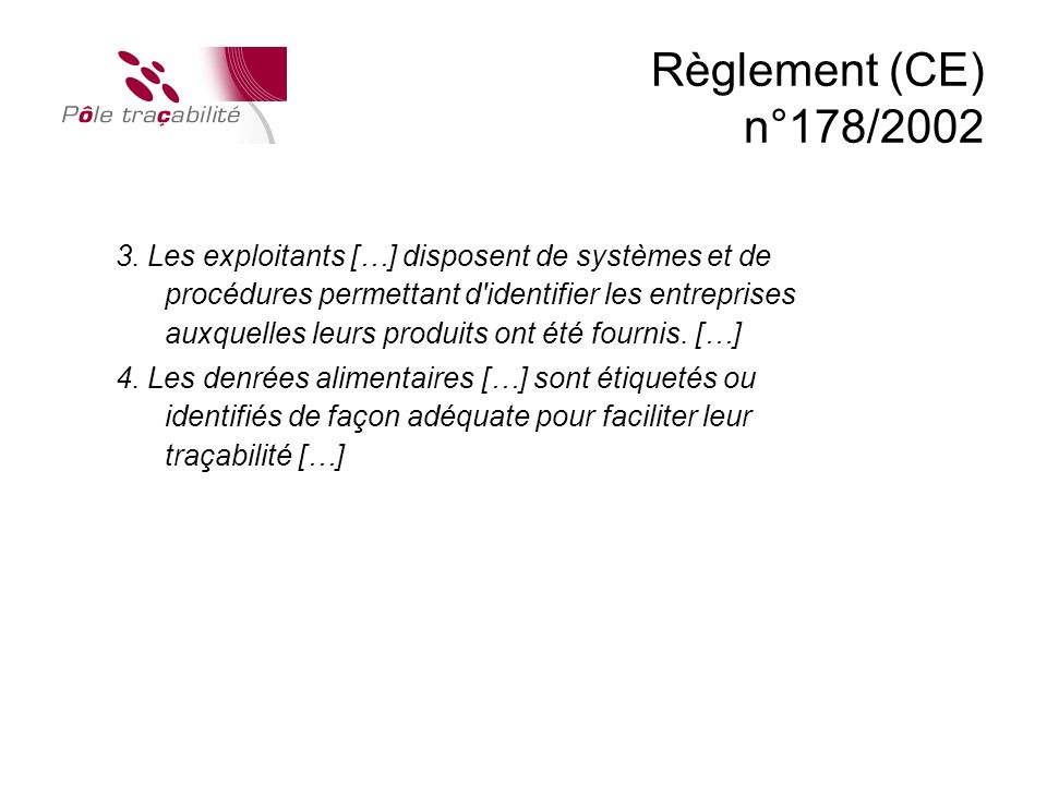 Règlement (CE) n°178/2002