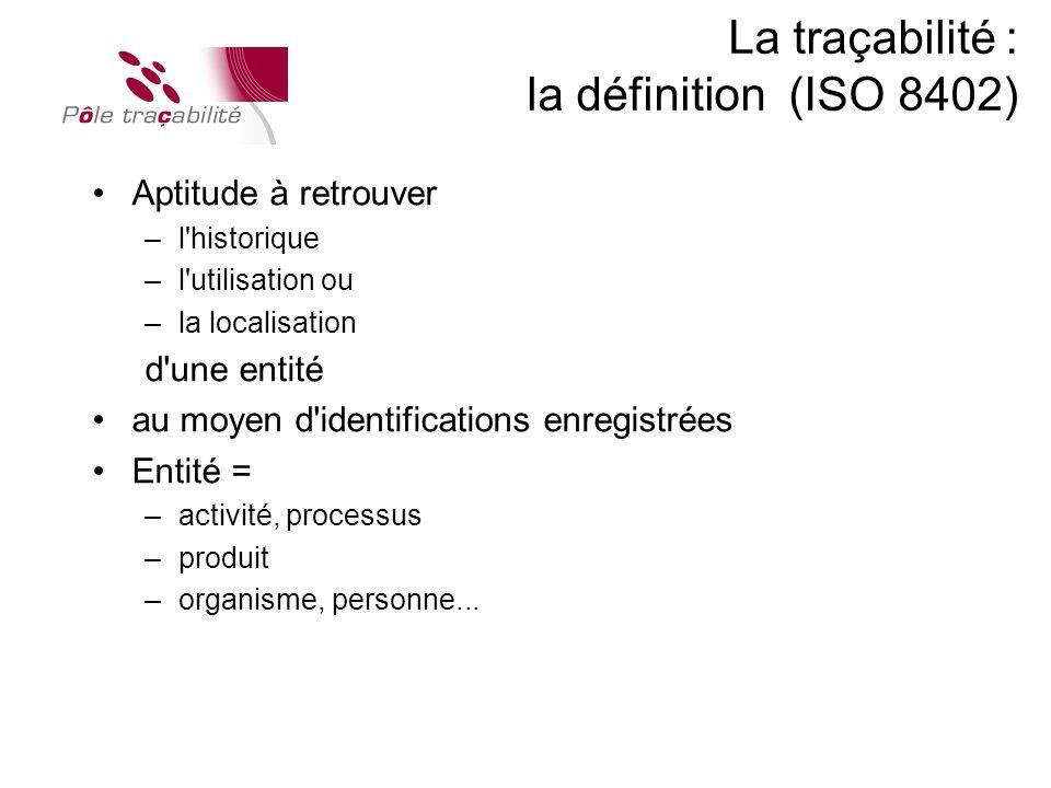 La traçabilité : la définition (ISO 8402)