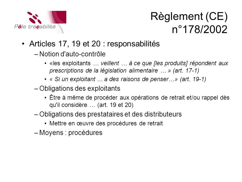 Règlement (CE) n°178/2002 Articles 17, 19 et 20 : responsabilités