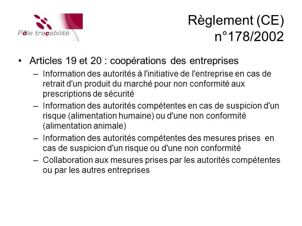 Règlement (CE) n°178/2002 Articles 19 et 20 : coopérations des entreprises.