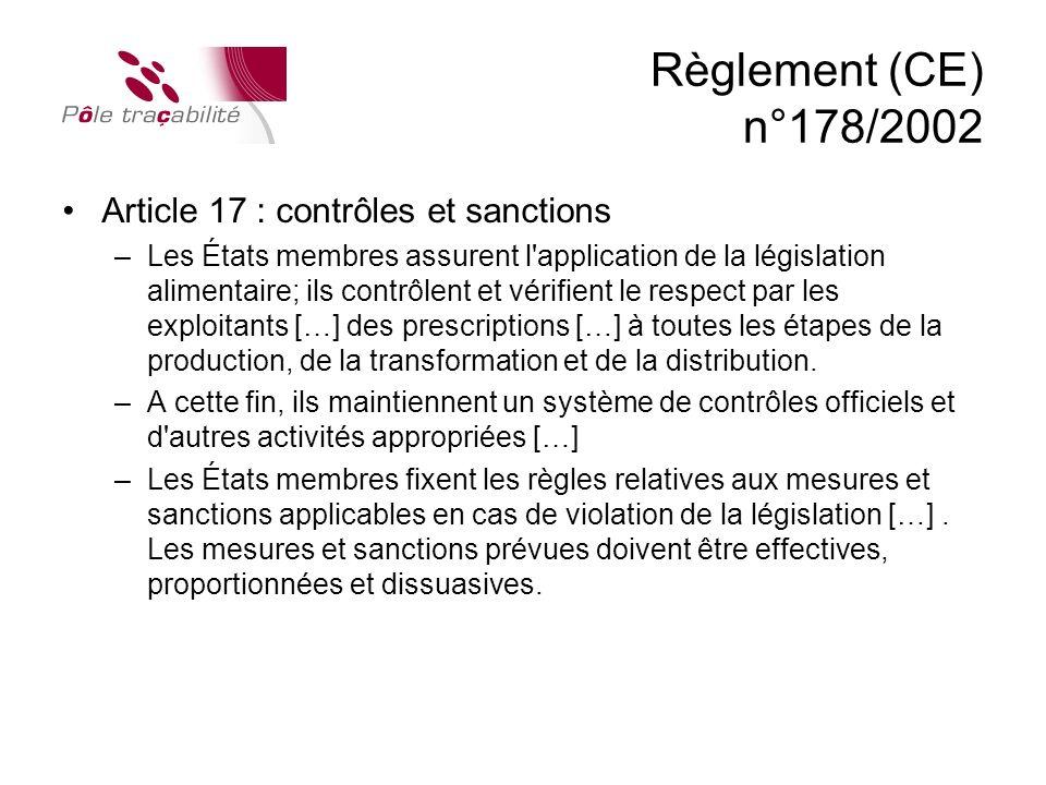 Règlement (CE) n°178/2002 Article 17 : contrôles et sanctions