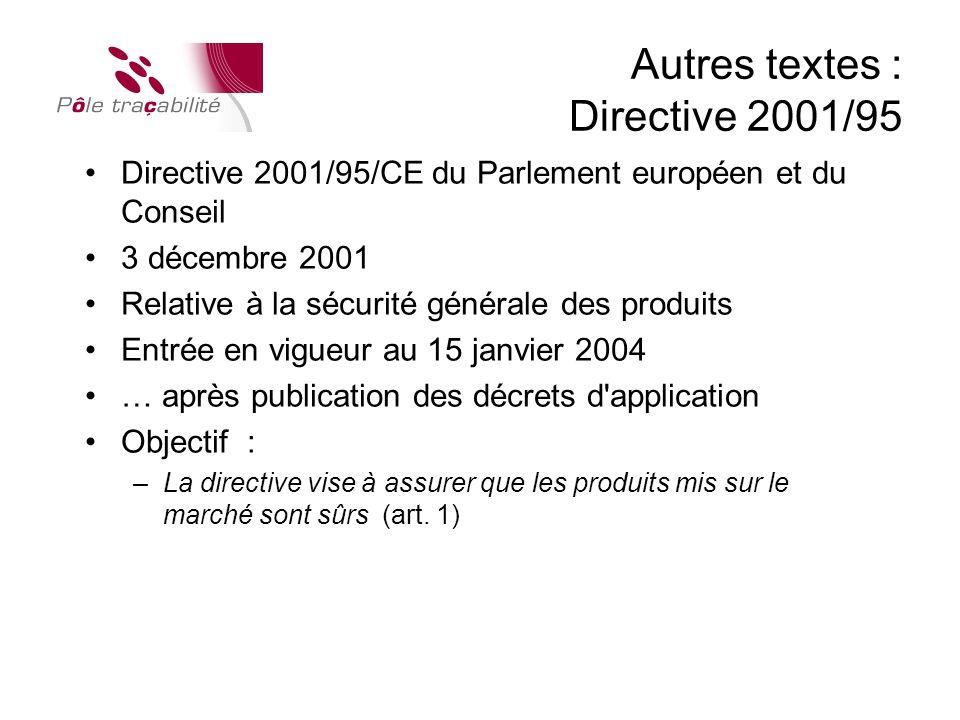 Autres textes : Directive 2001/95