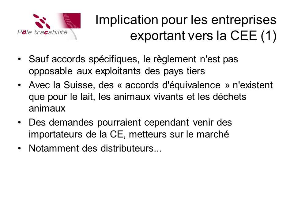 Implication pour les entreprises exportant vers la CEE (1)
