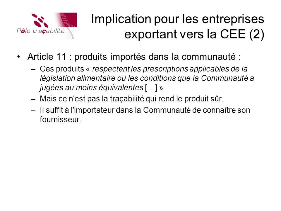Implication pour les entreprises exportant vers la CEE (2)