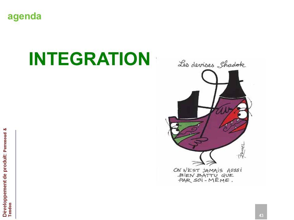 agenda INTEGRATION 43 Développement de produit: Perrenoud & Tendon 43