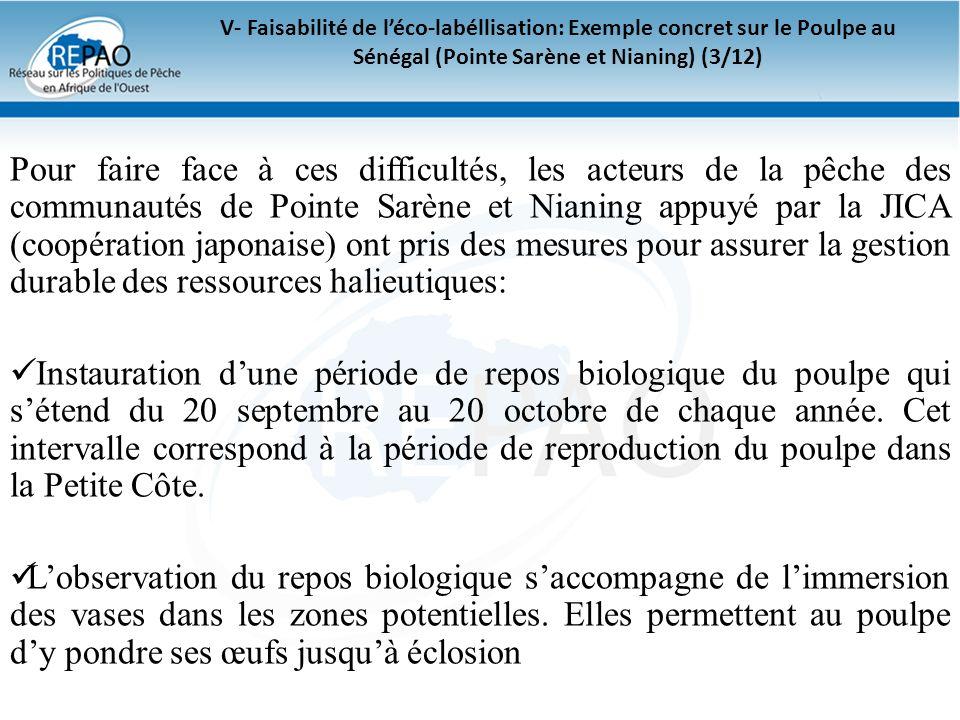 V- Faisabilité de l'éco-labéllisation: Exemple concret sur le Poulpe au Sénégal (Pointe Sarène et Nianing) (3/12)