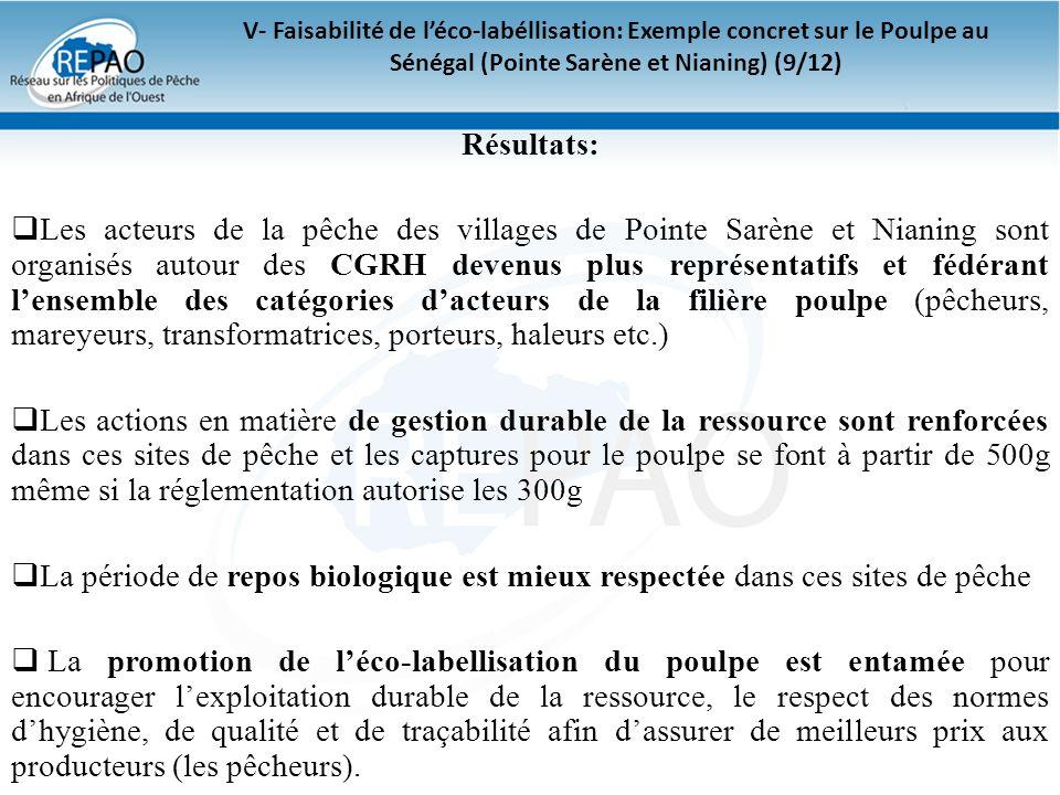 V- Faisabilité de l'éco-labéllisation: Exemple concret sur le Poulpe au Sénégal (Pointe Sarène et Nianing) (9/12)